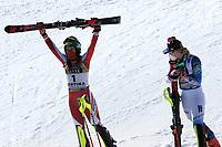 20th February 2021; Cortina d'Ampezzo, Italy; FIS Alpine World Ski Championships, Women's Slalom ;  Katharina Liensberger (AUT) and right Mikaela Shiffrin (USA)