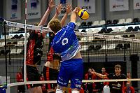 27-02-2021: Volleybal: Amysoft Lycurgus v Computerplan VCN: Groningen smash Lycurgus speler Eric van der Schaaf