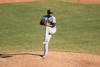 Glendale Desert Dogs relief pitcher Dalbert Siri (39), of the Cleveland Indians organization, delivers a pitch during an Arizona Fall League game against the Mesa Solar Sox at Sloan Park on October 27, 2018 in Mesa, Arizona. Glendale defeated Mesa 7-6. (Zachary Lucy/Four Seam Images)