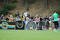 Union supporters pictured before a preseason friendly soccer game between Tempo Overijse and Royale Union Saint-Gilloise, Saturday 29th of June 2021 in Overijse, Belgium. Photo: SPORTPIX.BE   SEVIL OKTEM