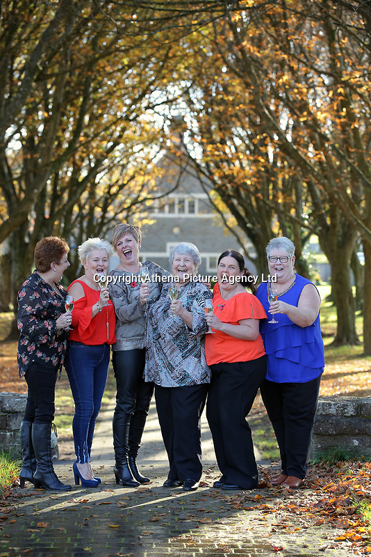 Pictured L-R: Julie Saunders, Doreen Thompson, Julie Amphlett, Jean Cairns, Louise Ward and SIan Jones. Wednesday 08 November 2017<br /> Re: Presentation of hospital catering syndicate win £25m in Euromillions Jackpot at Hensol Castle, south Wales, UK. Julie Saunders, 56, Doreen Thompson, 56, Louise Ward, 37, Jean Cairns, 73, SIan Jones, 54 and Julie Amphlett, 50 all work as catering staff for Neath Port Talbot Hospital in south Wales.
