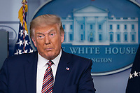 United States President Donald J. Trump holds a news briefing in the Brady Press Briefing Room of the White House in Washington, DC on Sunday, September 27, 2020. <br /> CAP/MPI/RS<br /> ©RS/MPI/Capital Pictures