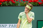 March 10, 2018: Stefanos Tsitsipas (GRE) defeated by Dominic Thiem (AUT) 6-2, 3-6, 6-3 at the BNP Paribas Open played at the Indian Wells Tennis Garden in Indian Wells, California. ©Mal Taam/TennisClix/CSM