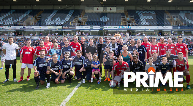 The teams pre match photo during the Sellebrity Soccer match for Wycombe Sports & Education Trust at Wycombe Wanderers, Adams Park, High Wycombe, England on 28 May 2018. Photo by Andy Rowland.