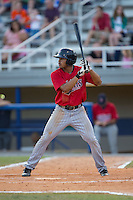 LaMonte Wade (26) of the Elizabethton Twins at bat against the Kingsport Mets at Hunter Wright Stadium on July 9, 2015 in Kingsport, Tennessee.  The Twins defeated the Mets 9-7 in 11 innings. (Brian Westerholt/Four Seam Images)