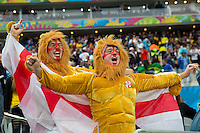 England fans dressed as a lion shout their support