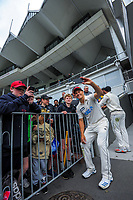 NZ's Neil Wagner poses for selfies with fans during day four of the second International Test Cricket match between the New Zealand Black Caps and West Indies at the Basin Reserve in Wellington, New Zealand on Monday, 14 December 2020. Photo: Dave Lintott / lintottphoto.co.nz