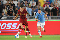 26th September 2021;  Stadio Olimpico, Rome, Italy; Italian Serie A football, SS Lazio versus AS Roma; Roger Ibanez of As Roma and Adam Marusic of SS Lazio