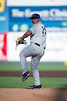 Tri-City Dust Devils relief pitcher Efrain Contreras (25) delivers a pitch during a Northwest League game against the Everett AquaSox at Everett Memorial Stadium on September 3, 2018 in Everett, Washington. The Everett AquaSox defeated the Tri-City Dust Devils by a score of 8-3. (Zachary Lucy/Four Seam Images)