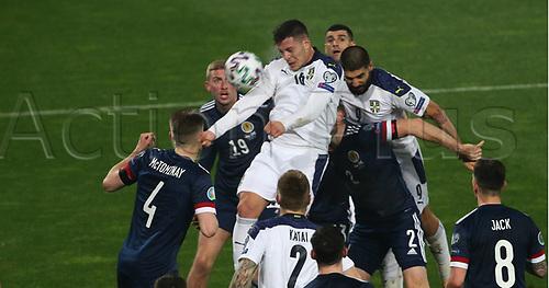 12th November 2020; Belgrade, Serbia; European International Football Playfoff Final, Serbia versus Scotland;  Luka Jovic Serbia climbs for the ball with Aleksandar Mitrovic