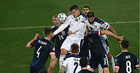 12th November 2020; Belgrade, Serbia; European International Football Playfoff Final, Serbia versus Scotland;  Luka Jovic Serbia climbs for the ball with Aleksandar Mitrovic