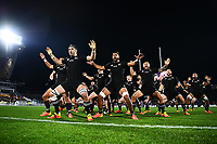 AUCKLAND, NEW ZEALAND - JULY 03: The haka is performed by the All Blacks during the International Test match between the New Zealand All Blacks and Tonga at Mt Smart Stadium on July 03, 2021 in Auckland, New Zealand. Photo by Hannah Peters / POOL