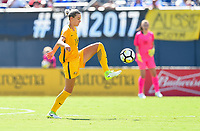 San Diego, CA - Sunday July 30, 2017: Alanna Kennedy during a 2017 Tournament of Nations match between the women's national teams of the Australia (AUS) and Japan (JAP) at Qualcomm Stadium.