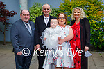 The christening party of Ellie Mae Murphy from Tralee on Saturday in the Ballyroe Heights Hotel, l to r: Patrick Roche (GF), Thomas and Ellie Mae Murphy, Christine Roche, Debra Murphy (GM)