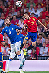 David Silva (R) of Spain fights for the ball with Daniele De Rossi (C) of Italy during their 2018 FIFA World Cup Russia Final Qualification Round 1 Group G match between Spain and Italy on 02 September 2017, at Santiago Bernabeu Stadium, in Madrid, Spain. Photo by Diego Gonzalez / Power Sport Images