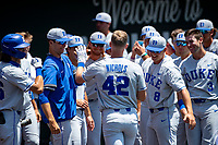 Duke Blue Devils third baseman Erikson Nichols (42) celebrates a home run with teammates during the game against the Wright State Raiders in NCAA Regional play on Robert M. Lindsay Field at Lindsey Nelson Stadium on June 5, 2021, in Knoxville, Tennessee. (Danny Parker/Four Seam Images)