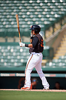 GCL Orioles designated hitter Jose Lizarraga (32) at bat during the first game of a doubleheader against the GCL Twins on August 1, 2018 at CenturyLink Sports Complex Fields in Fort Myers, Florida.  GCL Twins defeated GCL Orioles 7-6 in the completion of a suspended game originally started on July 31st, 2018.  (Mike Janes/Four Seam Images)