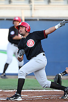 Vancouver Canadians designated hitter Roan Salas #9 bats against the Yakima Bears at Yakima County Stadium on August 11, 2011 in Yakima,Washington. Yakima defeated Vancouver 3-1.(Larry Goren/Four Seam Images)