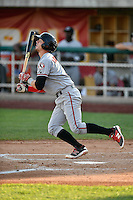 Morgan Lofstrom (8) of the Billings Mustangs at bat against the Orem Owlz in Pioneer League action at Home of the Owlz on July 25, 2016 in Orem, Utah. Orem defeated Billings 6-5. (Stephen Smith/Four Seam Images)