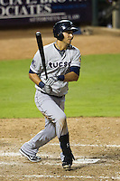 Tucson Padres first baseman Matt Clark #23 heads to first base during the Pacific Coast League baseball game against the Round Rock Express on August 4th, 2012 at the Dell Diamond in Round Rock, Texas. The Padres defeated the Express 10-6. (Andrew Woolley/Four Seam Images).