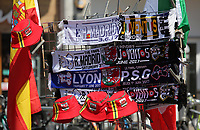Pictured: Real Madrid v Juventus scarves for sale in Queen Street Thursday 25 May 2017<br />