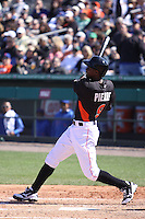 Miami Marlins Juan Pierre (9) at bat against the New York Mets during a spring training game at the Roger Dean Complex in Jupiter, Florida on March 3, 2013. Miami defeated New York 6-4. (Stacy Jo Grant/Four Seam Images)........