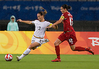 Christie Rampone, Christine Sinclair. The USWNT defeated Canada in extra time, 2-1, during the 2008 Beijing Olympics in Shanghai, China.