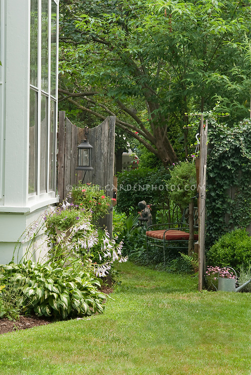 Secret garden, with gate and lawn, hostas in bloom, watering can, house, trees, lantern, sculpture ornaments