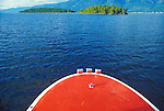 The red bow of a boat on Flathead Lake in western Montana