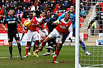 Rotherham United v Stevenage FC<br /> 15.2.2014<br /> Sky Bet League One<br /> Picture Shaun Flannery/Trevor Smith Photography<br /> Stevenage keeper Chris Day clears the ball from Rotherham's Wes Thomas.
