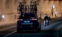 2 escapies descending in a tunnel<br /> <br /> Stage 4 from Terni to Prati di Tivo (148km)<br /> <br /> 56th Tirreno-Adriatico 2021 (2.UWT) <br /> <br /> ©kramon