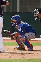 Texas Rangers Isaias Quiroz (9) during an instructional league game against the Seattle Mariners on October 5, 2015 at the Surprise Stadium Training Complex in Surprise, Arizona.  (Mike Janes/Four Seam Images)