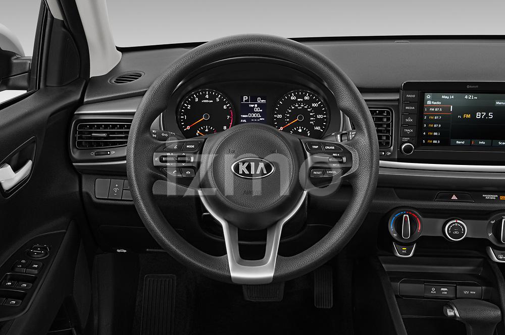 Car pictures of steering wheel view of a 2019 KIA Rio S 4 Door Sedan