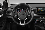 Car pictures of steering wheel view of a 2019 KIA Rio S 4 Door Sedan