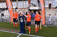 assistant referee Niels DHaene , referee Lois Otte taking the matchball and assistant referee Joline Delcroix pictured before a female soccer game between  AA Gent Ladies and Club Brugge YLA on the third matchday of play off 1 in the 2020 - 2021 season of Belgian Scooore Womens Super League , friday 23 th of April 2020  in Oostakker , Belgium . PHOTO SPORTPIX.BE | SPP | STIJN AUDOOREN