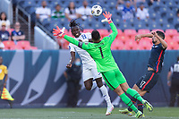 DENVER, CO - JUNE 3: Zack Steffen #1 of the United States defends against Alberth Elis #7 of Honduras during a game between Honduras and USMNT at EMPOWER FIELD AT MILE HIGH on June 3, 2021 in Denver, Colorado.