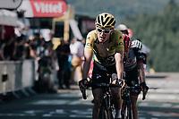 yellow jersey / GC leader Geraint Thomas (GBR/SKY) rolling in<br /> <br /> 104th Tour de France 2017<br /> Stage 5 - Vittel › La Planche des Belles Filles (160km)