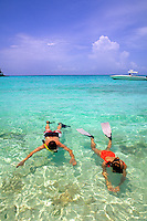Couple snorkeling in the Caribbean.
