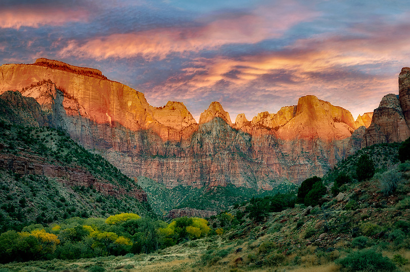 Temple and Towers of the Virgin. Zion National Park, Utah. A sky has been added.