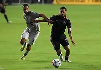 12th May 2021; Fort Lauderdale, Miami, USA;  Defender Rudy Camacho of CF Montreal and Midfielder Rodolfo Pizarro of Inter Miami CF challenge for the ball at the Inter Miami CF match against CF Montreal on May 12, 2021 at DRV PNK Stadium.
