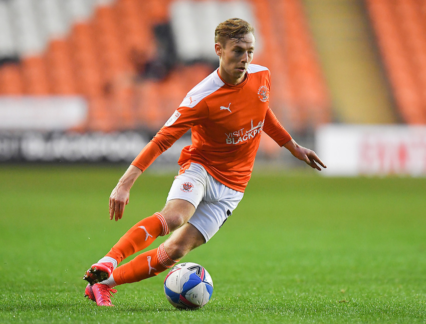 Blackpool's Daniel Kemp<br /> <br /> Photographer Dave Howarth/CameraSport<br /> <br /> EFL Trophy Northern Section Group G - Blackpool v Barrow - Tuesday 8th September 2020 - Bloomfield Road - Blackpool<br />  <br /> World Copyright © 2020 CameraSport. All rights reserved. 43 Linden Ave. Countesthorpe. Leicester. England. LE8 5PG - Tel: +44 (0) 116 277 4147 - admin@camerasport.com - www.camerasport.com