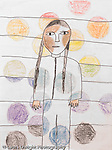 Self portrait by 8 year old Asian American girl vertical