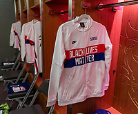 ORLANDO, FL - JANUARY 18: Black Lives Matter jackets hang in the locker room before a game between Colombia and USWNT at Exploria Stadium on January 18, 2021 in Orlando, Florida.