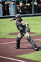 Vanderbilt Commodores catcher C.J. Rodriguez (5) makes a throw to first base against the South Carolina Gamecocks at Hawkins Field in Nashville, Tennessee, on March 21, 2021. The Gamecocks won 6-5. (Danny Parker/Four Seam Images)