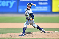 Columbia Fireflies pitcher Billy Oxford (18) delivers a pitch during a game against the Asheville Tourists at McCormick Field on June 23, 2019 in Asheville, North Carolina. The Fireflies defeated the Tourists 11-9. (Tony Farlow/Four Seam Images)