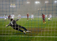 Goalkeeper Samir Handanovic (l, SLO) looks to Jozy Altidore (re, USA) during his Penalty Shot to 3:1, during the friendly match Slovenia against USA at the Stozice Stadium in Ljubljana, Slovenia on November 15th, 2011.