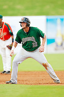Joey Rapp (26) of the Augusta GreenJackets takes his lead off of second base against the Greensboro Grasshoppers at NewBridge Bank Park on August 11, 2013 in Greensboro, North Carolina.  The GreenJackets defeated the Grasshoppers 6-5 in game one of a double-header.  (Brian Westerholt/Four Seam Images)