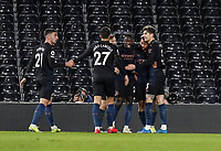 13th March 2021, Craven Cottage, London, England;  Manchester Citys Gabriel Jesus celebrates with his teammates after scoring for 0-2 in minute 56 during the English Premier League match between Fulham and Manchester City at Craven Cottage in London