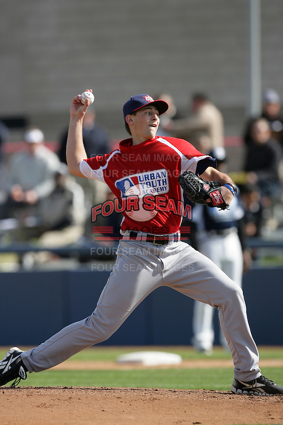 Cody Poteet of Christian High School during a MLB Scouting Bureau workout at the Urban Youth Academy on February 11, 2012 in Compton, California.(Larry Goren/Four Seam Images)