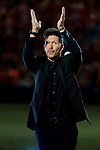 Coach Diego Simeone of Atletico de Madrid celebrates the team winning the 2018 UEFA Super Cup after the La Liga 2018-19 match between Atletico de Madrid and Rayo Vallecano at Wanda Metropolitano on August 25 2018 in Madrid, Spain. Photo by Diego Souto / Power Sport Images